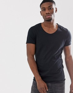 Черная футболка с овальным вырезом и краем с отворотом Selected Homme-Черный