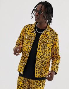 Джинсовая куртка с леопардовым принтом Urban Threads-Коричневый