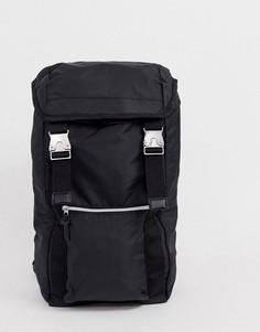 Черный рюкзак с двумя ремешками и металлическими пряжками ASOS DESIGN