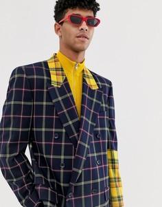 Двубортный oversize-пиджак в клетку с контрастной отделкой желтого цвета на рукавах ASOS DESIGN-Синий
