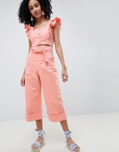 Широкие брюки с присборенной талией Lost Ink-Розовый