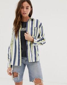 Серая рубашка навыпуск в полоску с длинными рукавами Quiksilver-Серый