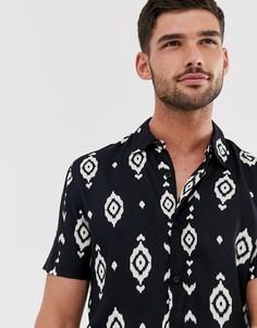 Черная рубашка с ацтекским принтом и отложным воротником New Look-Черный
