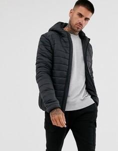 Черная дутая куртка с капюшоном Brave Soul-Черный