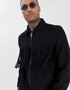 Черная замшевая куртка на молнии с кисточками ASOS DESIGN-Черный