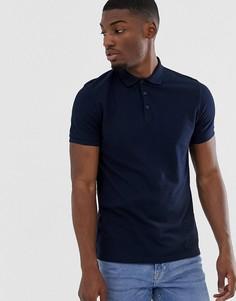 Темно-синее поло из ткани пике ASOS DESIGN-Темно-синий