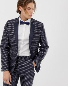 Темно-синий приталенный жаккардовый пиджак под смокинг с ромбовидным узором ASOS DESIGN