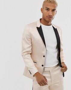 Жаккардовый приталенный пиджак-смокинг цвета шампанского ASOS DESIGN-Кремовый