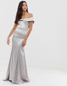 Атласное платье макси с открытыми плечами Dolly & Delicious-Серебряный
