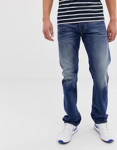 Светлые выбеленные джинсы прямого кроя Diesel Larkee 08XR-Синий