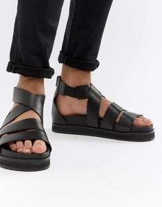 Черные кожаные гладиаторские сандалии с массивной подошвой ASOS DESIGN-Черный