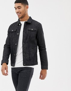 Черная джинсовая куртка в полоску Liquor N Poker-Черный