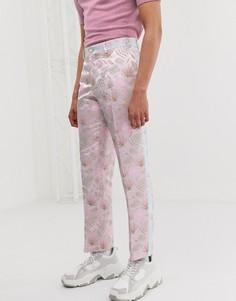 Жаккардовые брюки слим с цветочным рисунком и вставками ASOS EDITION-Розовый