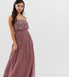 Платье макси на лямках с отделкой бисером и жемчугом на укороченном лифе ASOS DESIGN Petite-Серебряный