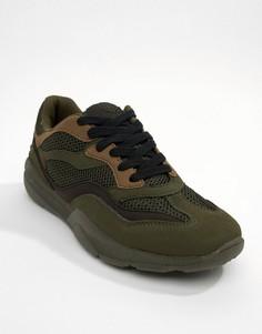 Трикотажные кроссовки цвета хаки River Island-Зеленый