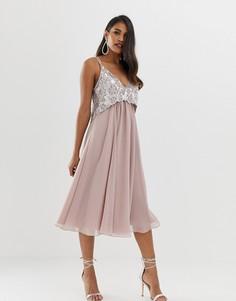 Платье миди на бретелях с искусственным жемчугом на лифе ASOS DESIGN-Розовый