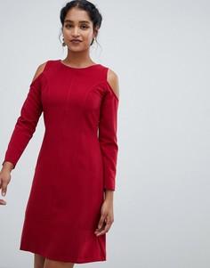 Платье-трапеция с открытыми плечами Closet London-Красный