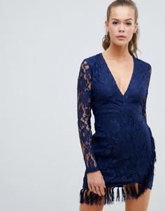 Кружевное платье с кисточками AX Paris-Темно-синий
