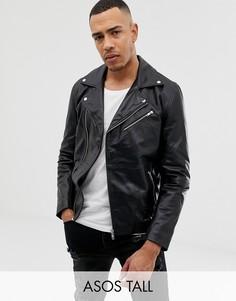 Черная кожаная байкерская куртка ASOS DESIGN Tall-Черный
