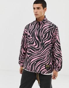 Розовая куртка с капюшоном и тигровым принтом Tiger of Sweden Jeans-Розовый