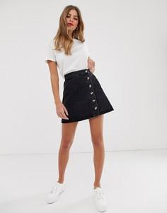 Черная джинсовая юбка на пуговицах с запахом ASOS DESIGN-Черный