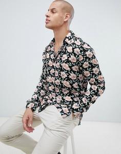 Вискозная рубашка с цветочным принтом и воротником в виде лацканов Religion-Черный