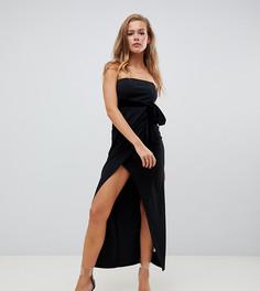 Черное бархатное платье миди с запахом Missguided-Черный