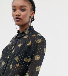 Полупрозрачная рубашка с принтом Reclaimed Vintage inspired-Черный