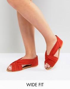 Летние замшевые туфли для широкой стопы ASOS JANEL-Красный