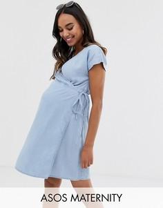 Голубое джинсовое платье с запахом ASOS DESIGN Maternity-Синий