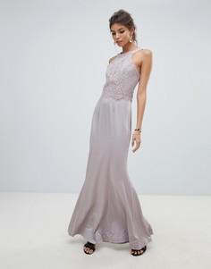 Платье макси 2 в 1 с кружевным топом Little Mistress-Серый