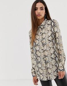 Oversize-рубашка со змеиным принтом Club L-Мульти