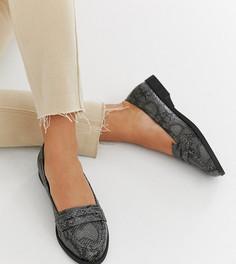 Серые туфли на плоской подошве для широкой стопы со змеиным рисунком ASOS DESIGN Minny-Мульти