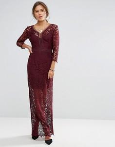 Кружевное платье макси с длинными рукавами Little Mistress-Красный