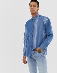 Свободная джинсовая рубашка в полоску ASOS DESIGN-Синий