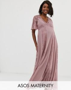 Платье макси с рукавами клеш и кружевными вставками ASOS DESIGN Maternity-Розовый