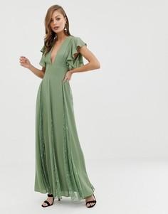 Платье макси с кружевными вставками годе ASOS DESIGN-Мульти
