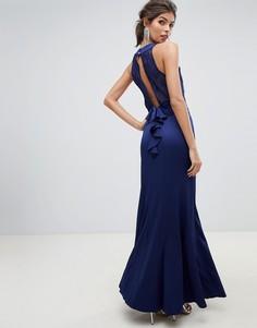 Платье макси 2 в 1 с кружевным топом и открытой спиной Little Mistress-Темно-синий