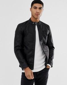 Черная байкерская куртка из искусственной кожи Only & Sons-Черный