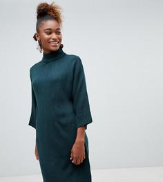 Темно-зеленое трикотажное платье с высоким воротником Monki-Зеленый