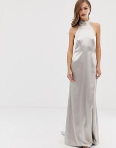 Платье макси с халтером и годе ASOS EDITION-Кремовый