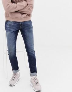 Темные джинсы-морковки слим Diesel Tepphar 087AT-Синий