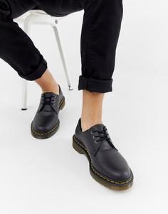 Черные туфли из веган-кожи с 3 парами люверсов Dr Martens 1461-Черный