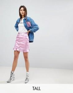 Джинсовая юбка с оборкой Chorus Tall-Розовый
