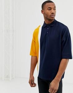 Темно-синяя футболка-поло колор блок из ткани пике ASOS DESIGN-Темно-синий