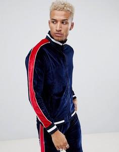 Бархатная спортивная куртка на молнии Night Addict-Темно-синий
