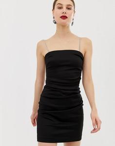 Черное платье мини с с отделкой стразами River Island-Черный
