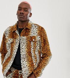 Куртка с леопардовым принтом Reclaimed Vintage inspired-Коричневый