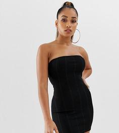 Черное бандажное платье мини бандо эксклюзивно от Missguided Petite-Черный