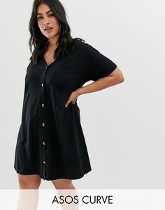 Свободное платье мини на пуговицах ASOS DESIGN Curve-Черный